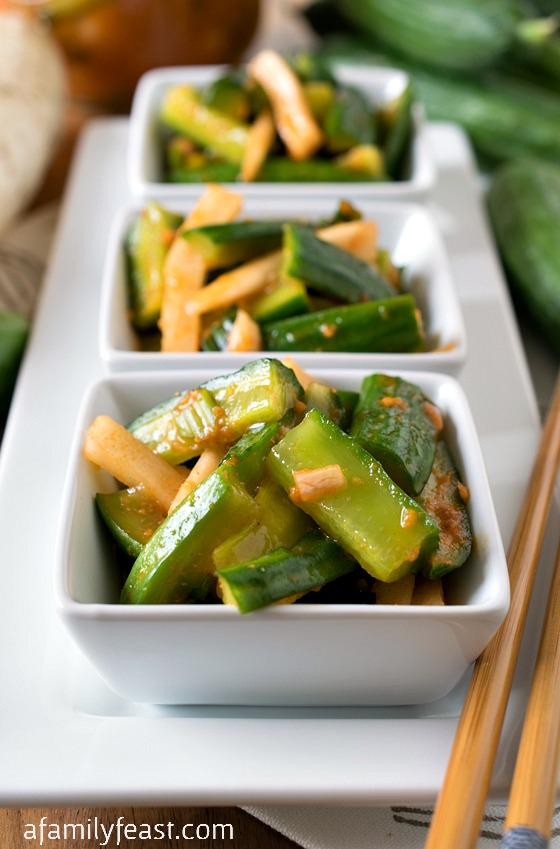 Korean-Style Marinated Cucumbers - A Family Feast