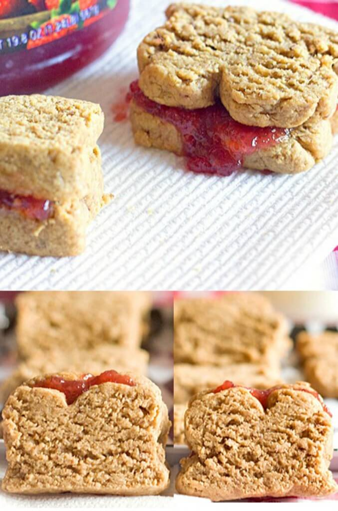 Peanut Butter and Jelly Sandwich Cookies - One of  20 delicious peanut butter and jelly recipes for Peanut Butter Jelly Time on A Family Feast