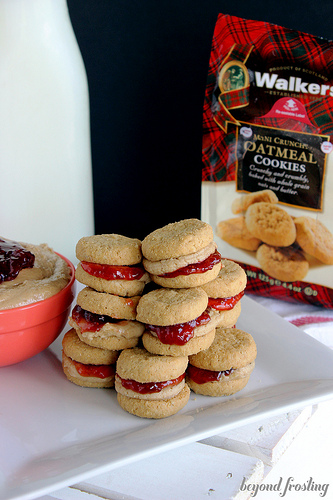 Peanut Butter and Jelly Cookie Sandwiches - One of over 20 delicious peanut butter and jelly recipes for Peanut Butter Jelly Time on A Family Feast