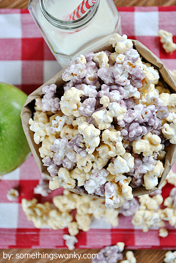 Peanut Butter Jelly Popcorn - One of over 20 delicious peanut butter and jelly recipes for Peanut Butter Jelly Time on A Family Feast