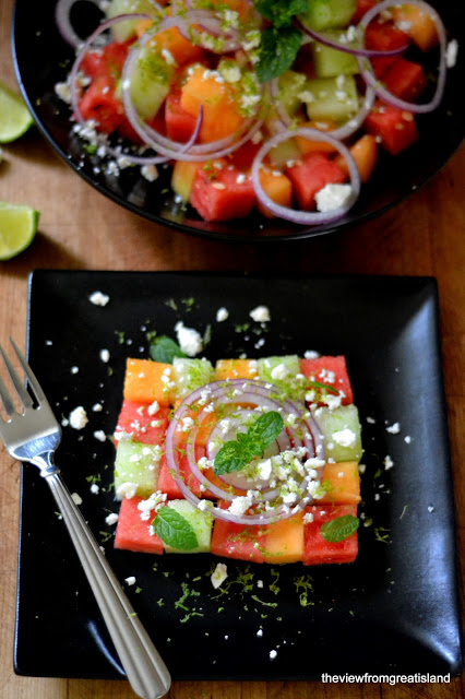 Summer Melon Salad - One of over 25 melon recipes in a collection on afamilyfeast.com