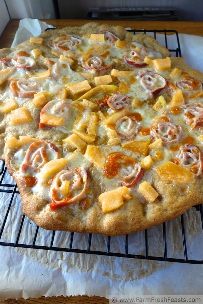 Cantaloupe Posciutto Pizza - One of over 25 melon recipes in a collection on afamilyfeast.com