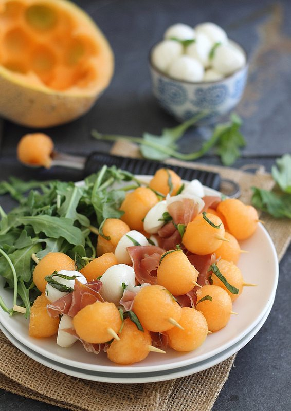 Melon, Prosciutto, and Mozzarella Skewers - One of over 25 melon recipes in a collection on afamilyfeast.com