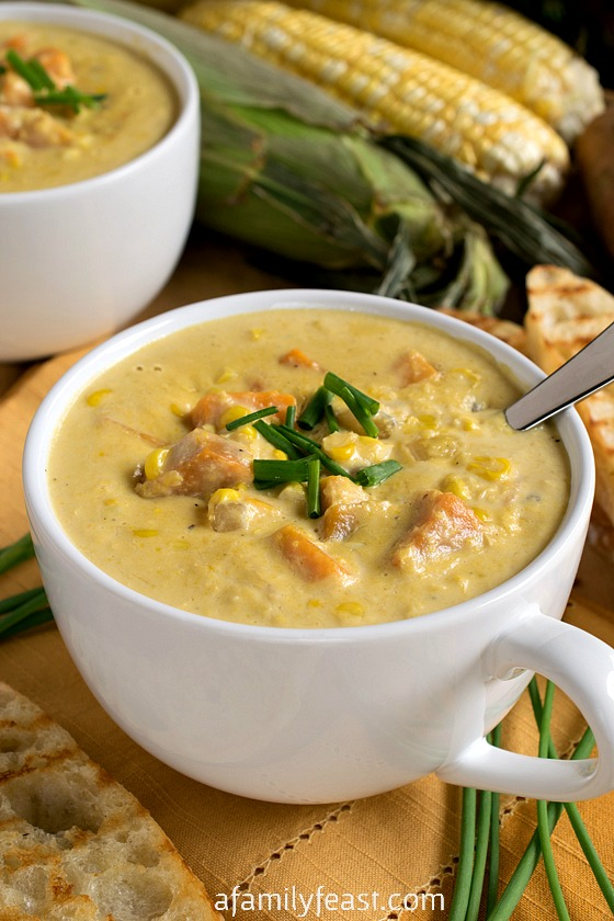 Sweet Corn Soup - Summertime in a bowl! This rich, creamy, easy soup ...