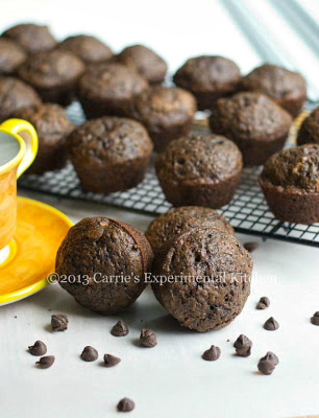 Triple Chocolate Zucchini Muffins - Over 30 delicious recipes to help you use up your bounty of garden zucchini. See the recipes on A Family Feast.