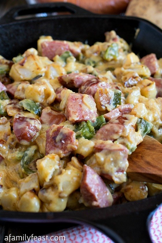 Cheesy Smoked Sausage Skillet