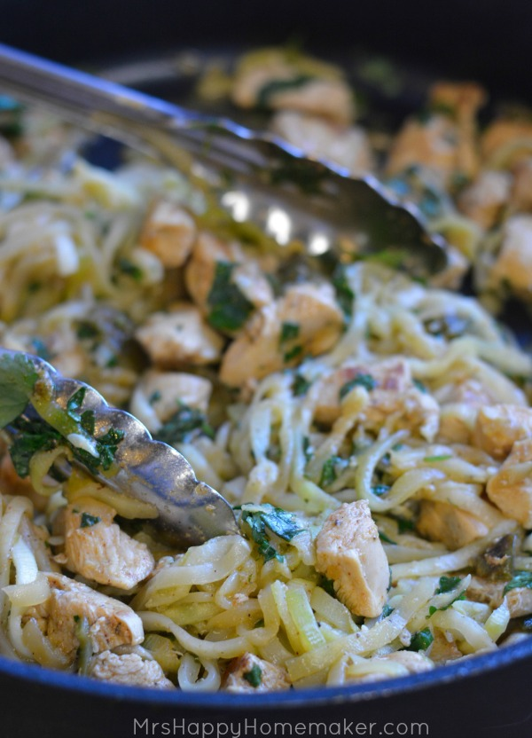 Garlic Lime Chicken with Zucchini Noodles - Over 30 delicious recipes to help you use up your bounty of garden zucchini. See the recipes on A Family Feast.