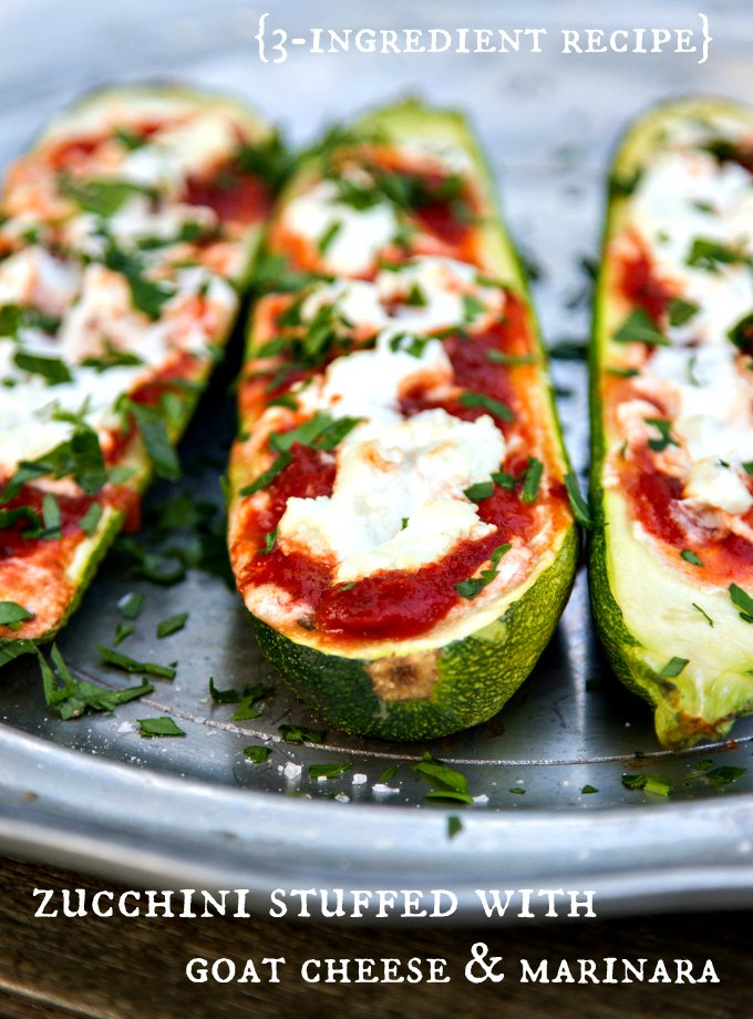 Stuffed Zucchini with Goat Cheese - Over 30 delicious recipes to help you use up your bounty of garden zucchini. See the recipes on A Family Feast.
