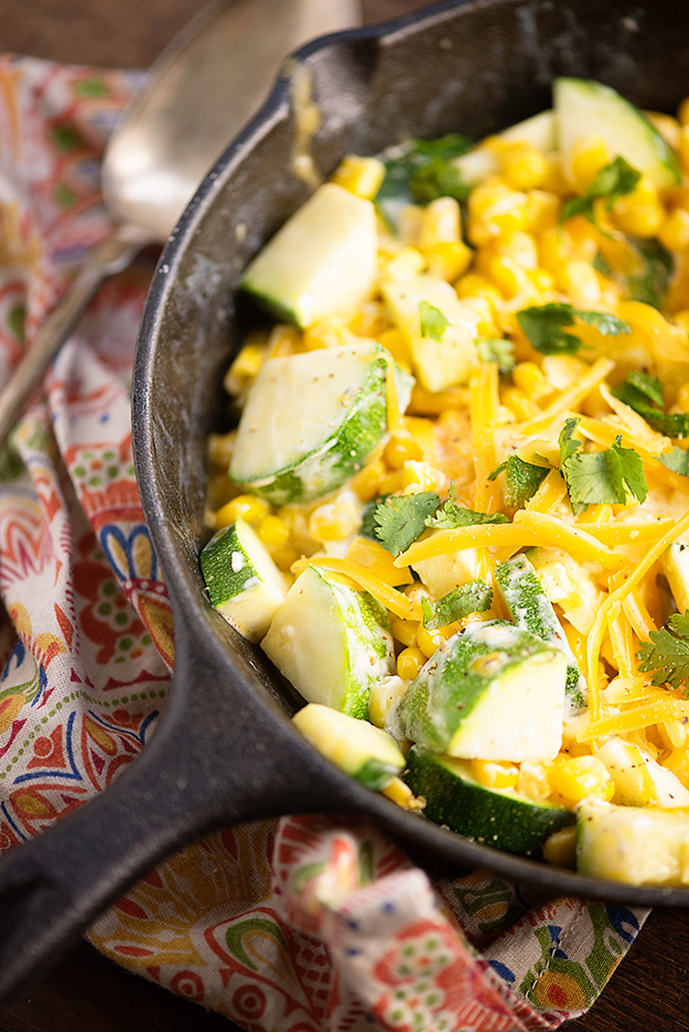 Creamy Corn and Zucchini - Over 30 delicious recipes to help you use up your bounty of garden zucchini. See the recipes on A Family Feast.