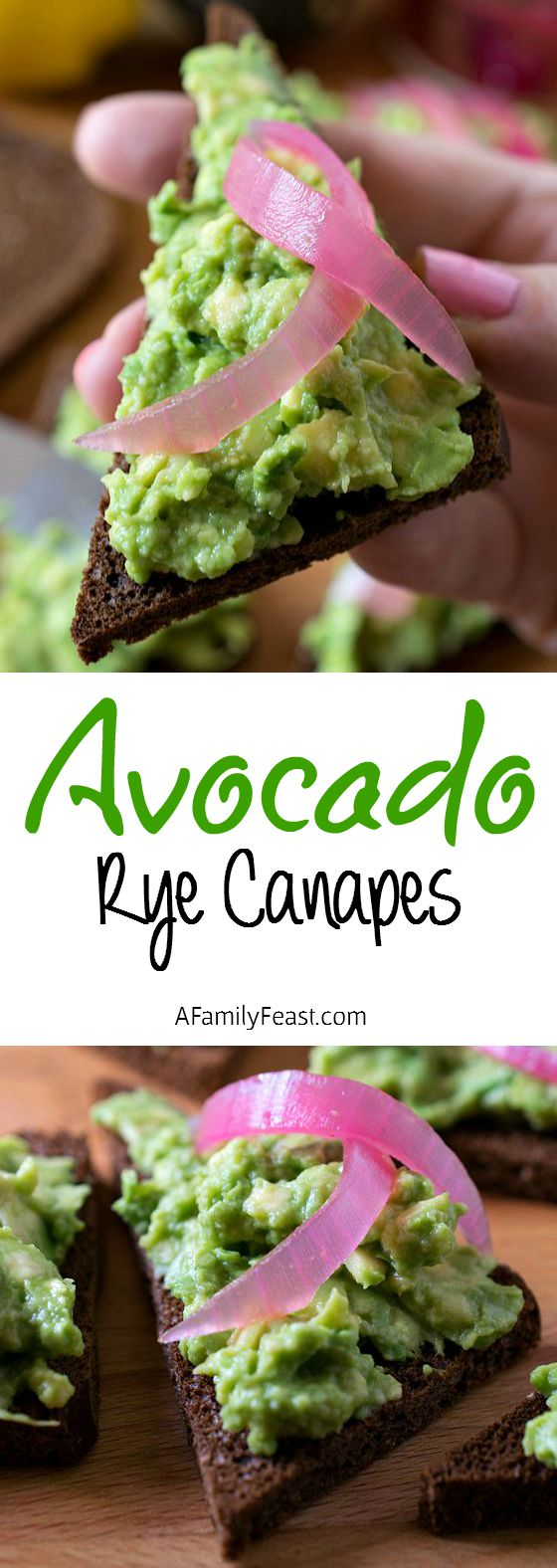 Avocado Rye Canapés - An easy and delicious recipe that is great as an appetizer or a light lunch!  AFamilyFeast.com