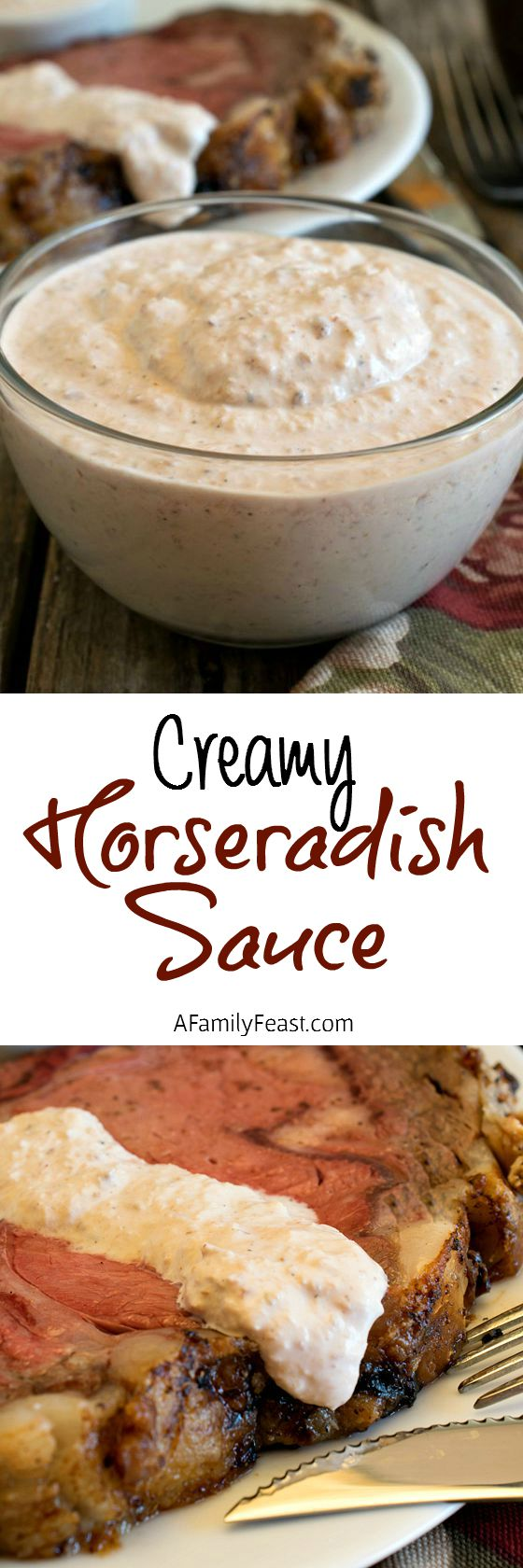Creamy Horseradish Sauce - Creamy and zesty, this sauce is a perfect accompaniment to beef.