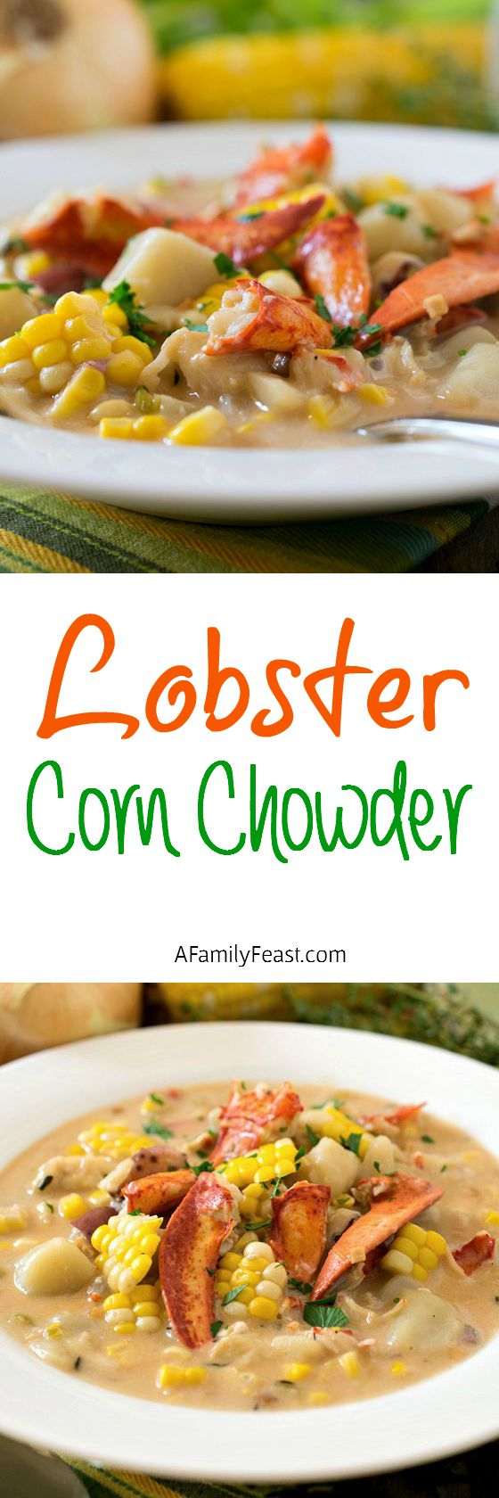 Lobster Corn Chowder - The tastes of summer at the beach in a bowl! A light and creamy super flavorful broth loaded with chunks of lobster, corn and potatoes.