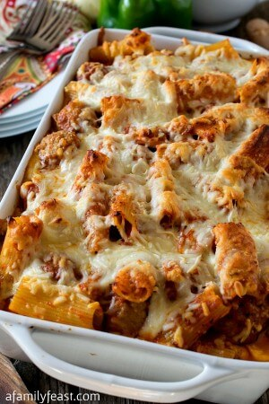 Three Cheese Baked Ziti With Meatballs and Sausage - A Family Feast
