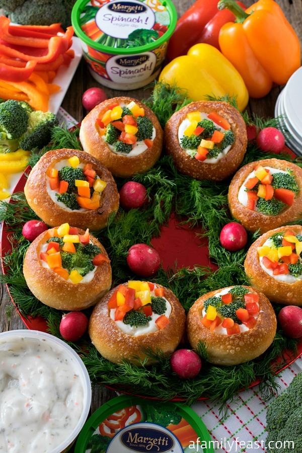 Our Veggie Dip Wreath is a delicious and festive way to eat your veggies this holiday season!
