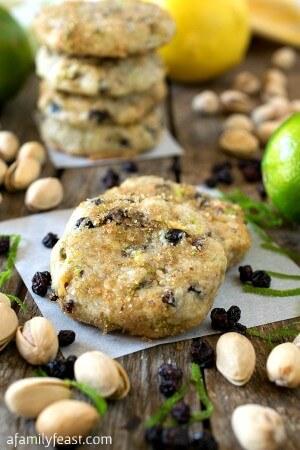 Pistachio Lemon Lime Shortbread Cookies - A Family Feast