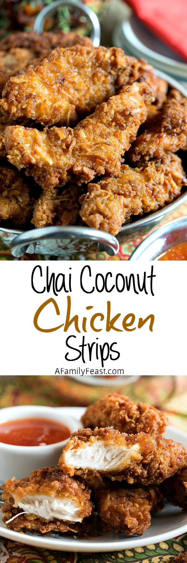 Chai Coconut Chicken Strips - Homemade chai spice mix and coconut add great flavor to these easy chicken strips!
