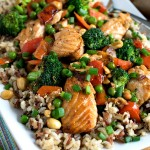 Stir Fry Salmon and Vegetables with Multi-Grain Medley