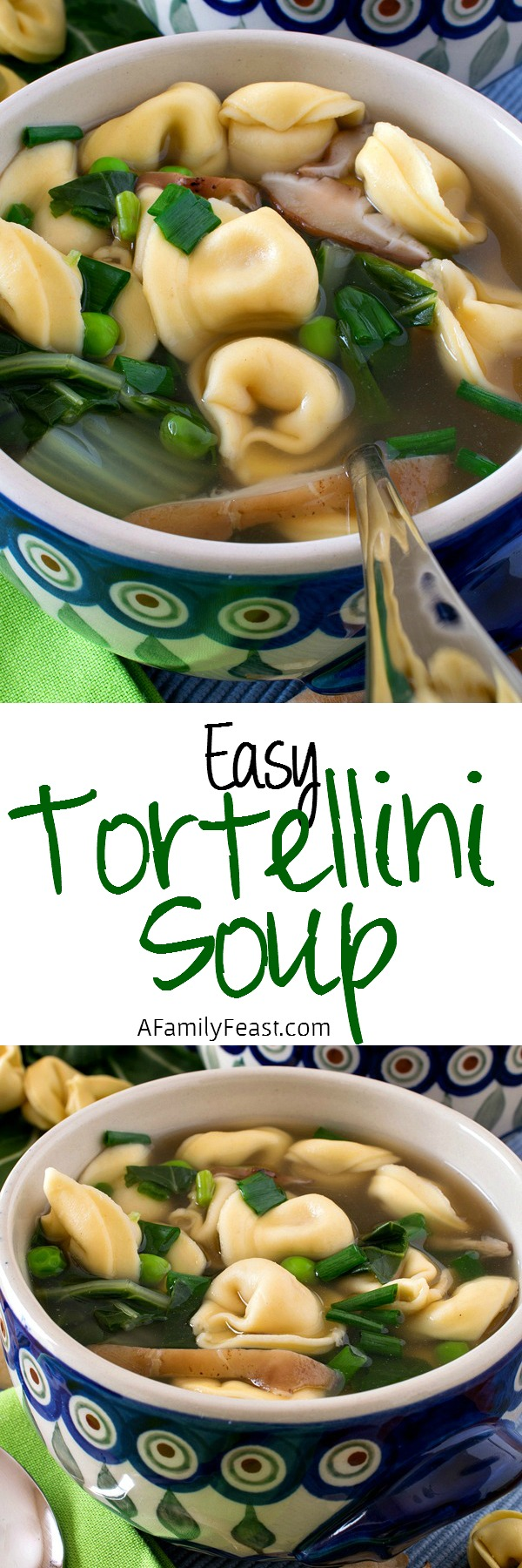 This Easy Tortellini Soup is ready in just 8 minutes! Super flavorful and easy to make.