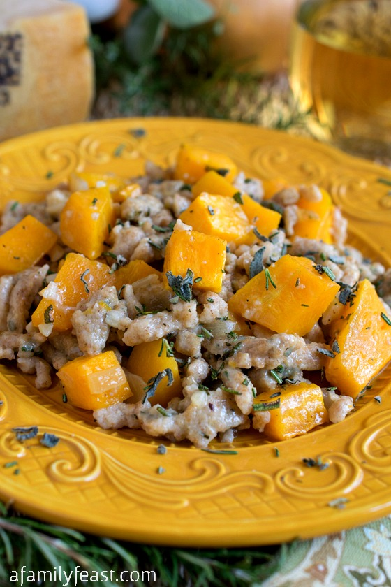 Whole Wheat Spaetzle with Butternut Squash - A wonderful, savory meatless meal!