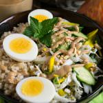 Crunchy Vegetable Rice Bowl with Warm Peanut Sauce