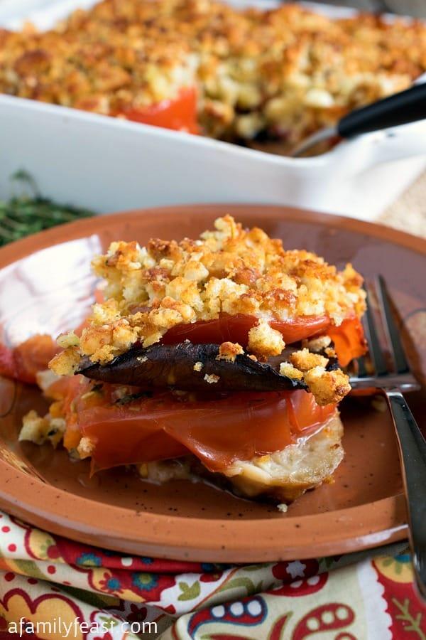 Tomato Portobello Gratin - A fantastic, flavorful side dish or meatless meal.