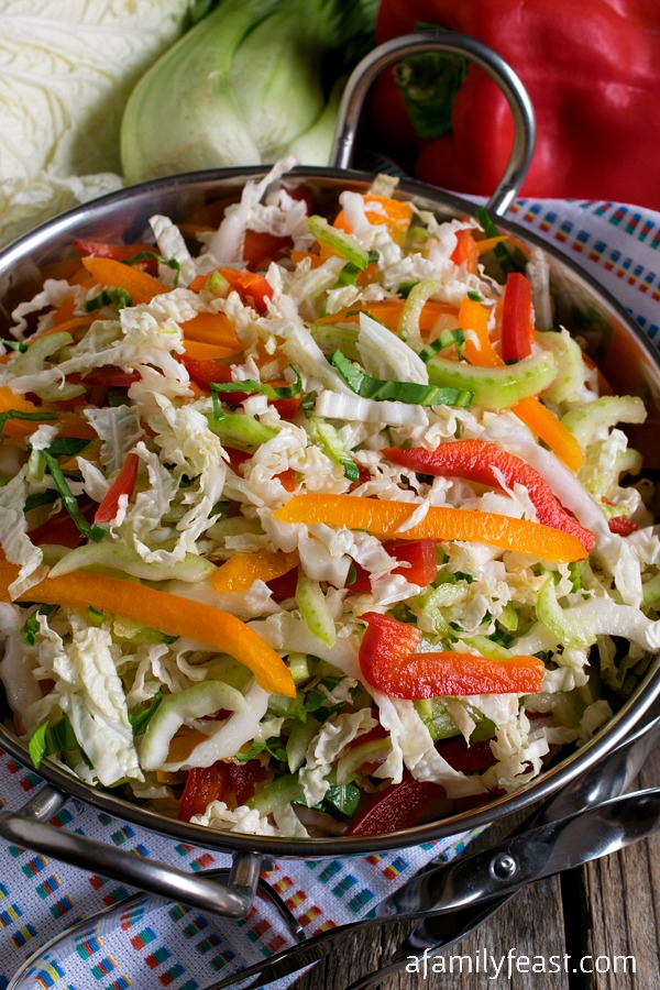 Easy Napa Cabbage Slaw - Takes just minutes to prepare and a few simple ingredients. Delicious with grilled meats, on sandwiches or tacos.