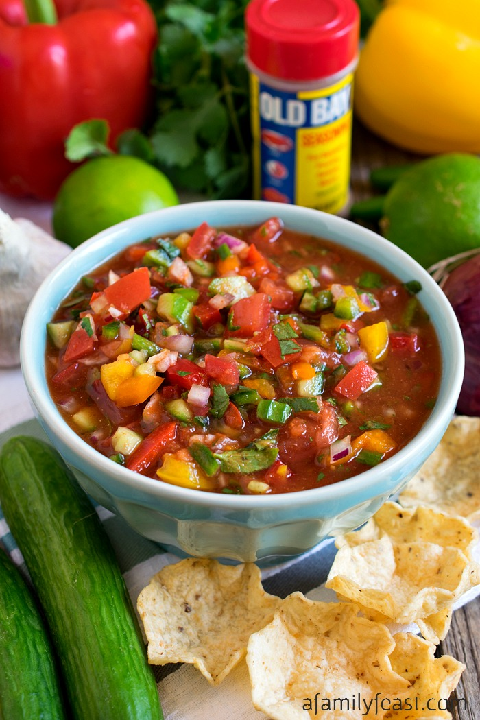 Chesapeake Salsa - A uniquely flavored salsa with fresh cucumber, Old Bay Seasoning, tomatoes, peppers and lime. So good!