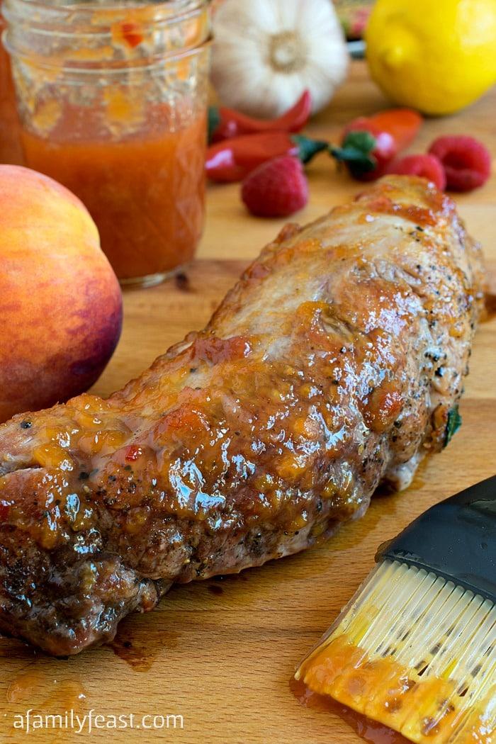 Peppery Peach Glazed Pork Tenderloin - A Family Feast