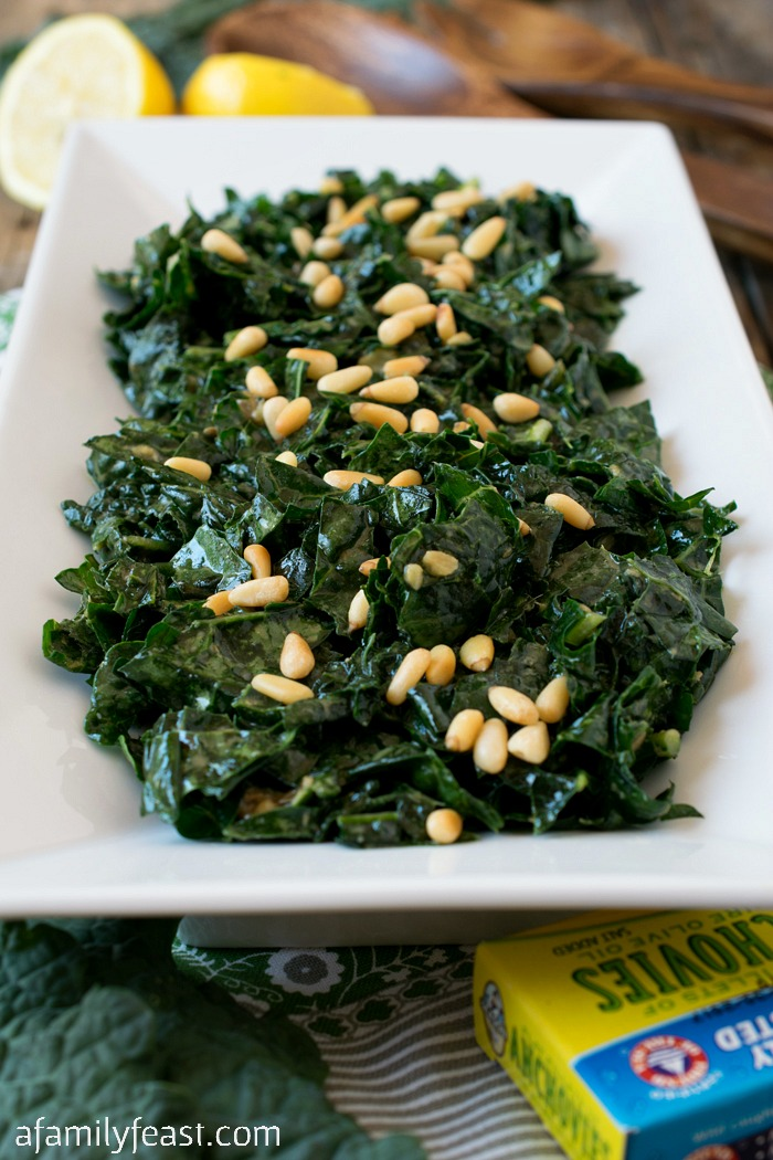 Massaged Kale with Lemon and Pine Nuts - A delicious and easy way to enjoy Tuscan Kale!