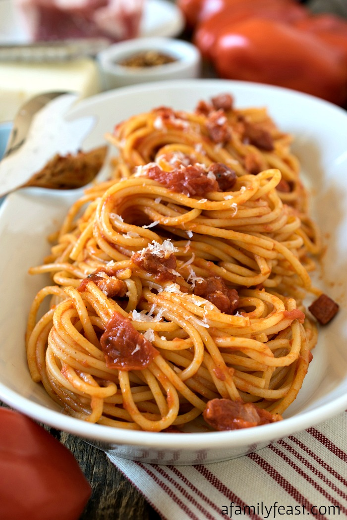 Spaghetti all' Amatriciana - A simple, classic pasta dish with ...