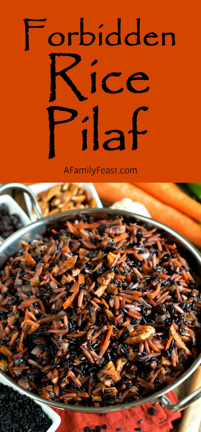 Forbidden Rice Pilaf - A delicious, healthy twist on a classic recipe. Rice pilaf made with delicious black forbidden rice.
