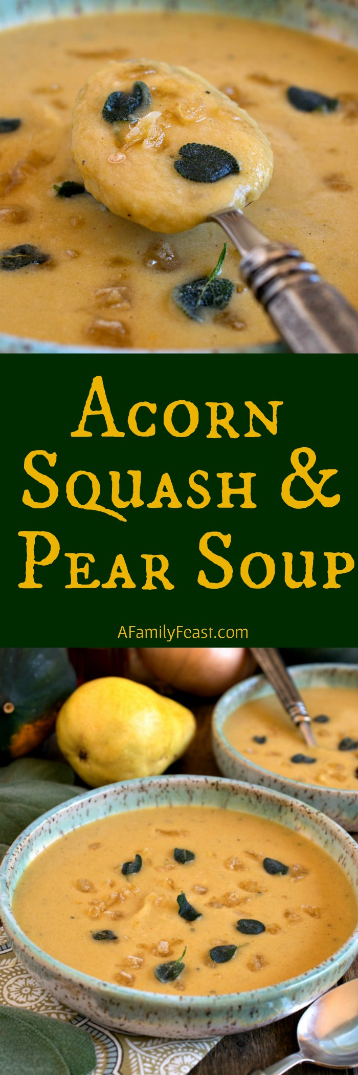 Acorn Squash and Pear Soup - A delicious taste of Fall! This creamy soup is made with acorn squash and pears with crispy sage and crystallized ginger on top.