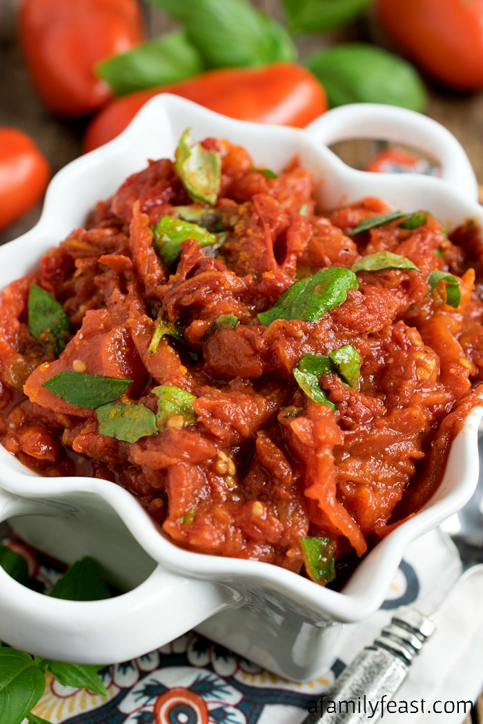Garden Tomato Compote - A rich and delicious side dish made with garden tomatoes. Wonderful served with meats or seafood.