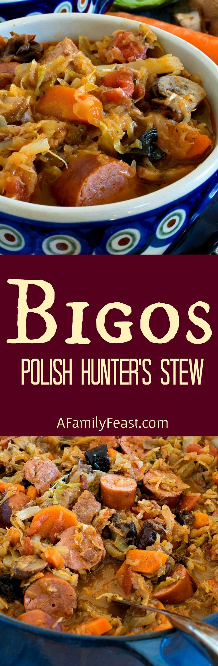 Bigos (also known as Polish Hunter's Stew) is a hearty delicious dish made with meat, cabbage, sauerkraut and vegetables.