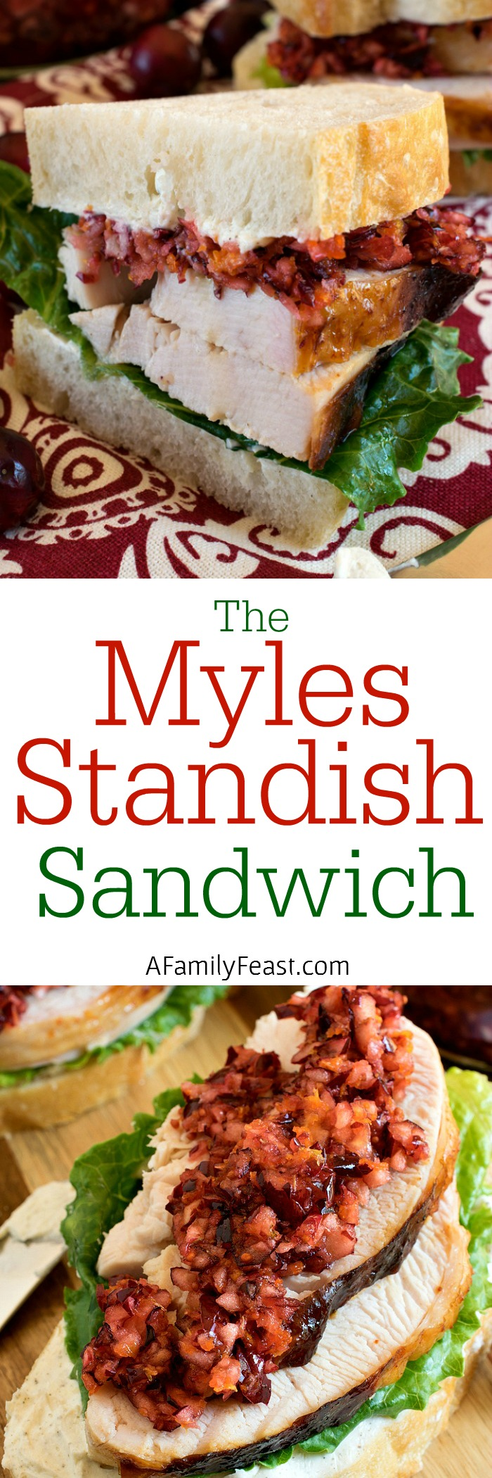 Myles Standish Sandwich - A delicious sandwich made with turkey slices, cream cheese on white crusty bread, and a delicious cranberry orange relish on top. So good!