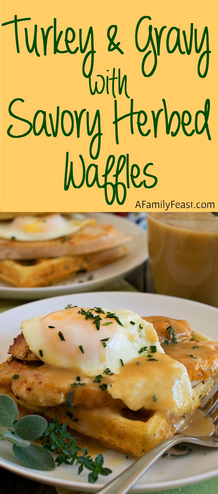 Turkey and Gravy Savory Herbed Waffles - Enjoy a fantastic breakfast ...