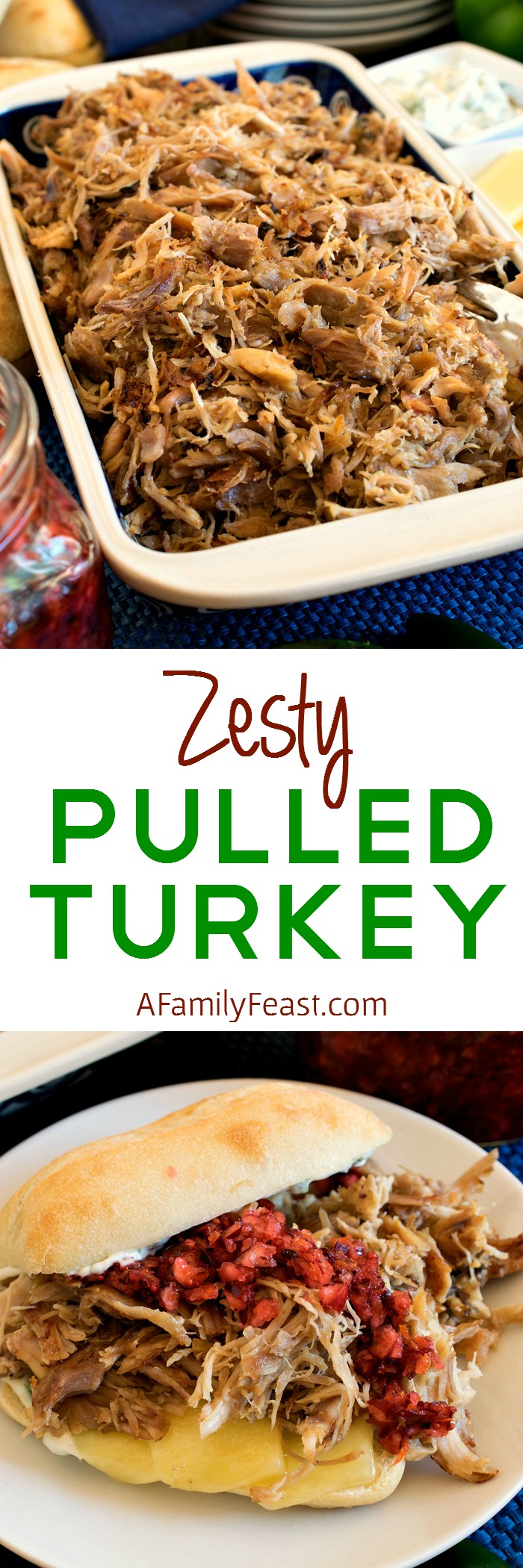 Zesty Pulled Turkey - A delicious recipe made with leftover turkey. Use on sliders, in tacos, quesadillas and more!
