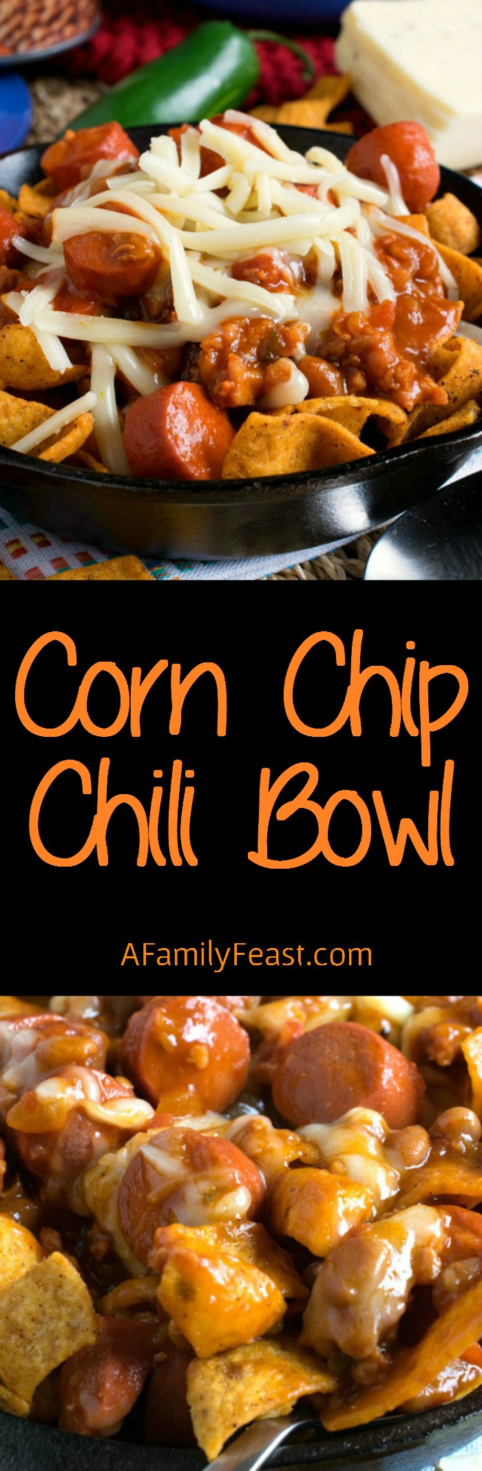Corn Chip Chili Bowl - Great game day grub! Corn chips topped with chili. So good!