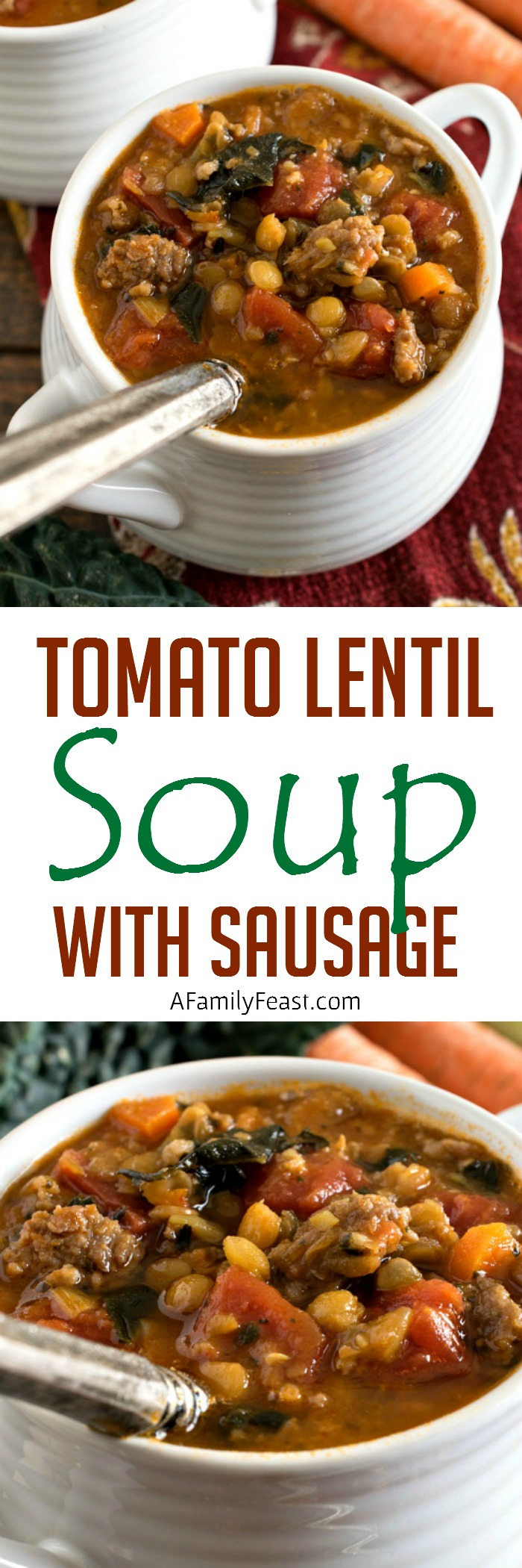 Tomato Lentil Soup with Sausage - Delicious comfort food in a bowl!