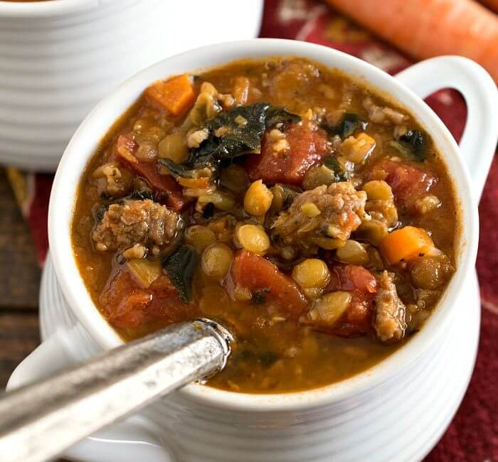 Tomato Lentil Soup with Sausage