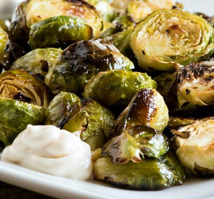 Oven Roasted Brussels Sprouts with Lemon Aioli