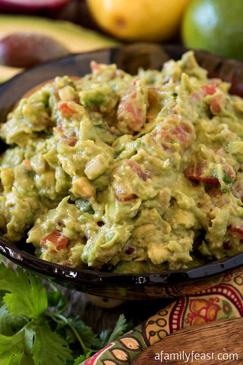 A delicious and easy, perfectly seasoned guacamole recipe with fantastic, fresh flavors.